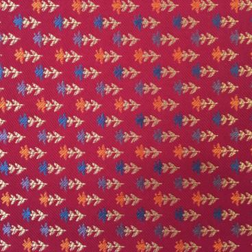 Tela tapicería fondo rojo flores pequeñas y alineadas