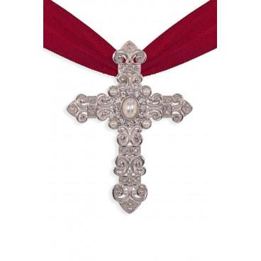 Colgante Cruz Oro o Plata Perlas - Swarovski